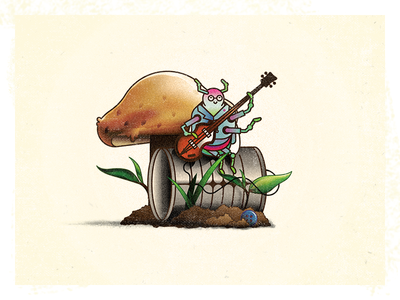 Beetle Bass tin can challenge 52weeks bass plants amp mushroom beetle insect vector illustration
