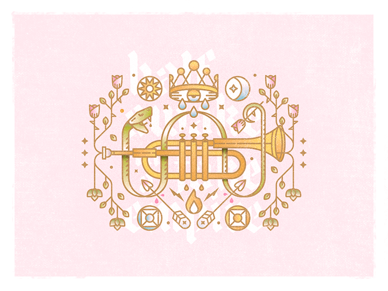 Fake Empire challenge 52weeks arrows crown snake trumpet vector illustration