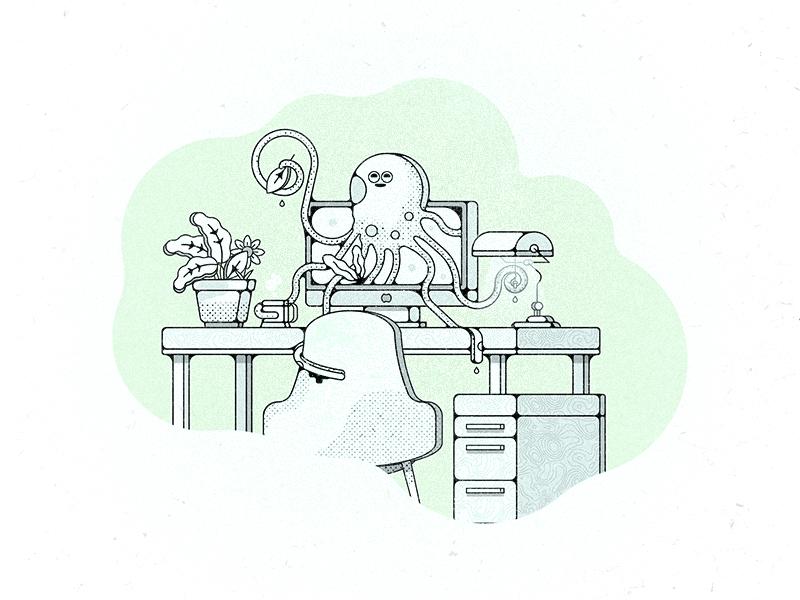 Studiopus challenge 52weeks mac plant octopus desk studio vector illustration