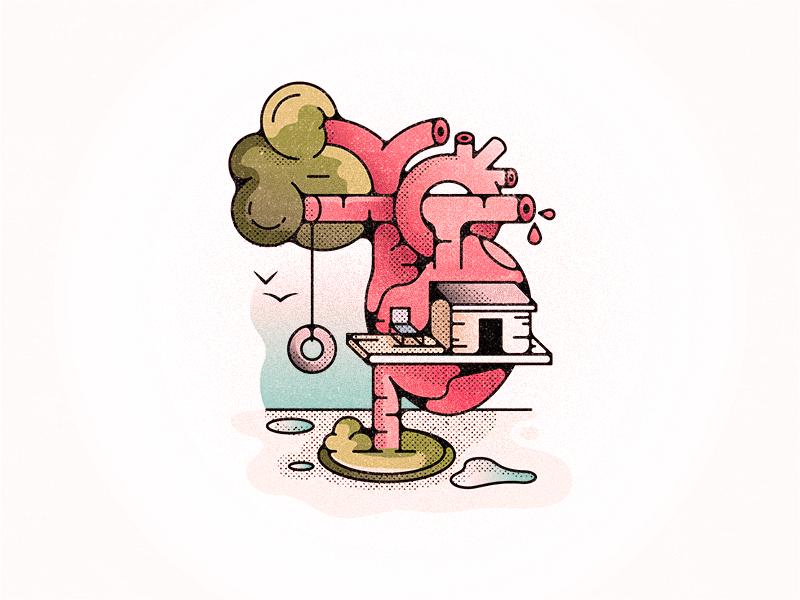 Treeheart challenge 52weeks treehouse tree heart vector illustration