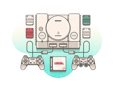 PS1 video games metal gear solid challenge 52weeks controller snake ps1 playstation vector illustration