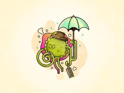 Viral Commute challenge 52weeks late umbrella hat commute virus vector illustration