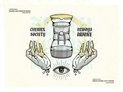 Chemex secret society challenge 52weeks caffeine chemex coffee vector illustration