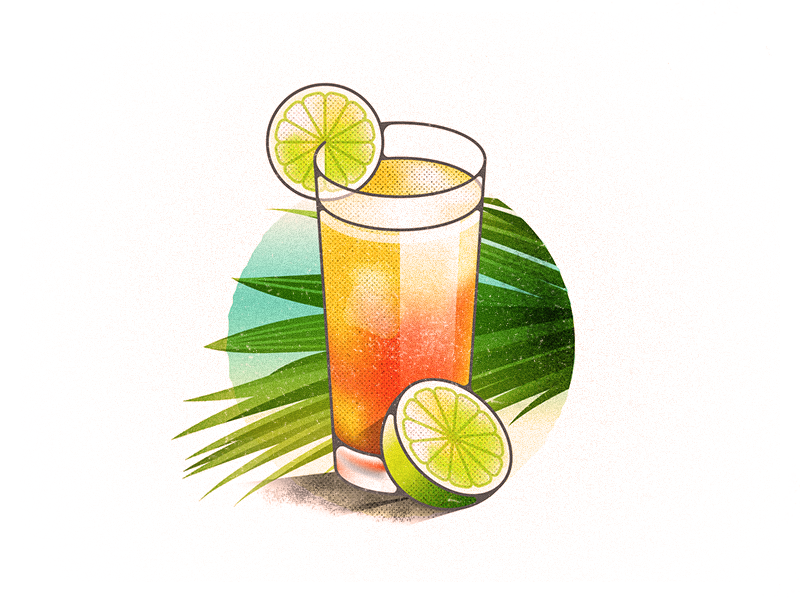 Summah Drank palm alcohol tropical lime punch rum drink vector illustration