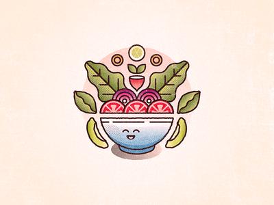 Lil Salad Boi challenge 52weeks bowl avocado tomatoes salad vector illustration