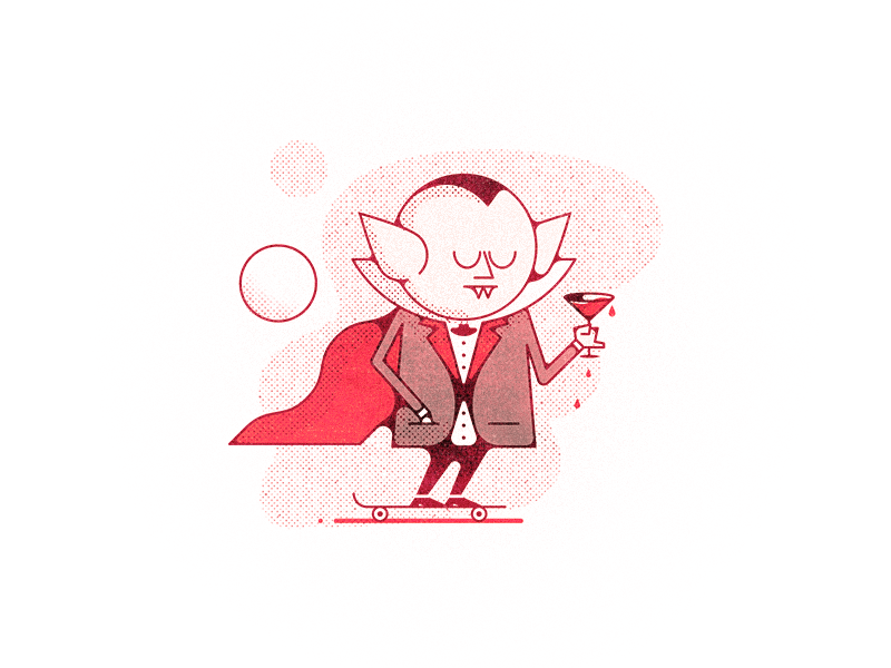Rad Vlad skateboard martini challenge 52weeks vampire blood vector illustration