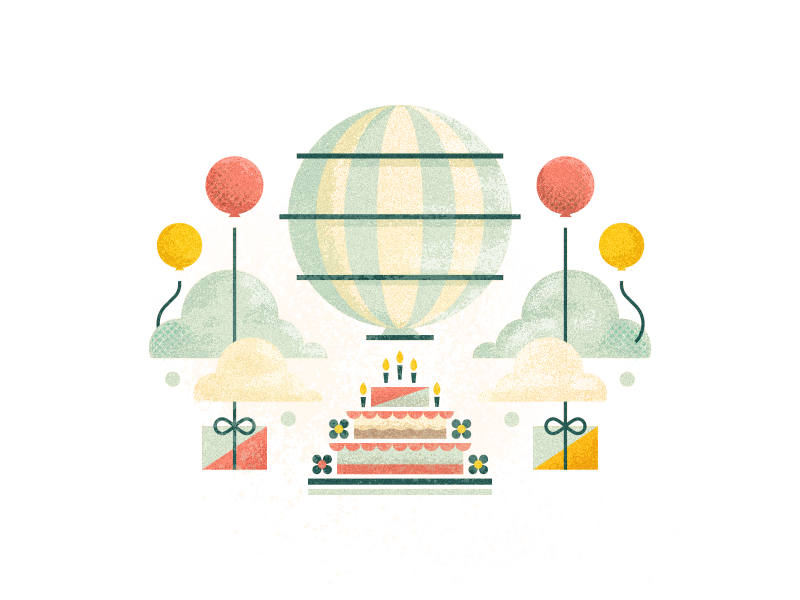The Cake is a Lie texture painterly brushes design hot air balloon balloons cake challenge 52weeks vector birthday illustration