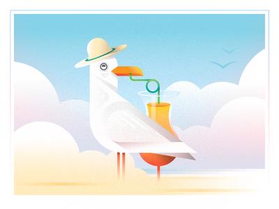 gulls gulls gulls summer minimal sand bird cocktail hat beach seagull design challenge 52weeks vector illustration