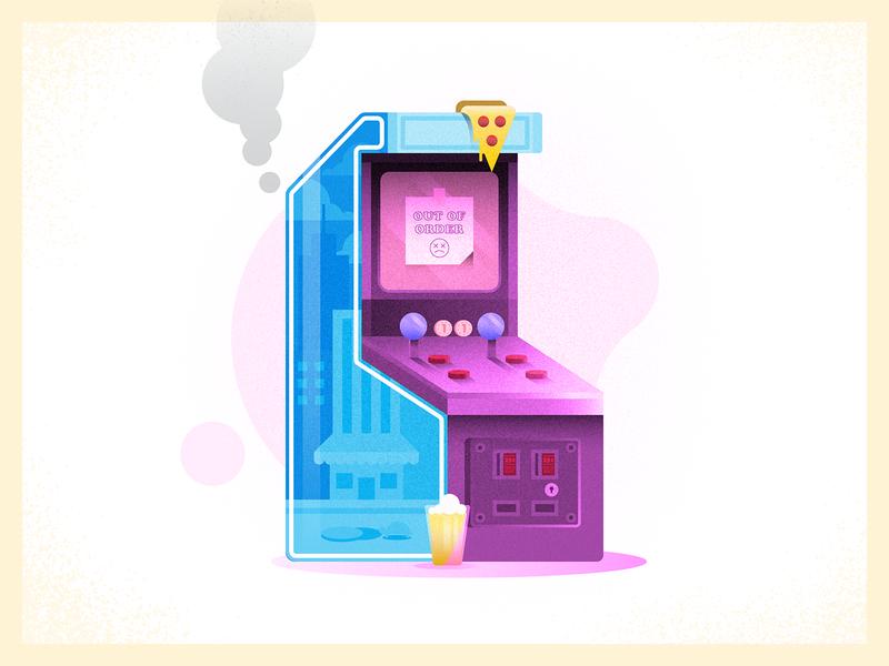 Barcade Woes 80s design joystick arcade arcade cabinet pizza beer video games challenge 52weeks vector illustration