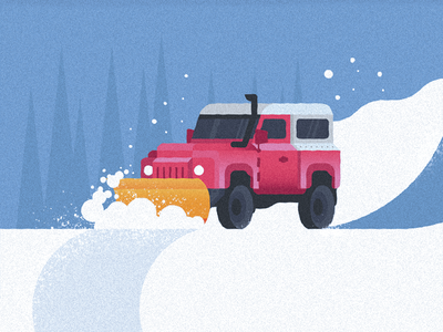 Mr. Plow jeep mountains trees open road utility vehicle truck snowplow snow challenge 52weeks vector illustration