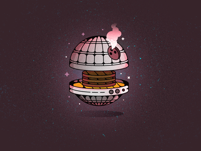Death Star Grille stars meat cookout grill burgers beef space death star star wars branding vector illustration