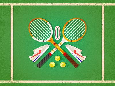 Forty, Love classy retro headband tennis balls serve sports nike cortez racquet tennis design challenge 52weeks vector illustration