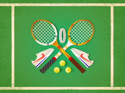 Forty, Love classy retro headband tennis balls serve sports nike cortez racquet tennis design challenge 52weeks vector illustration