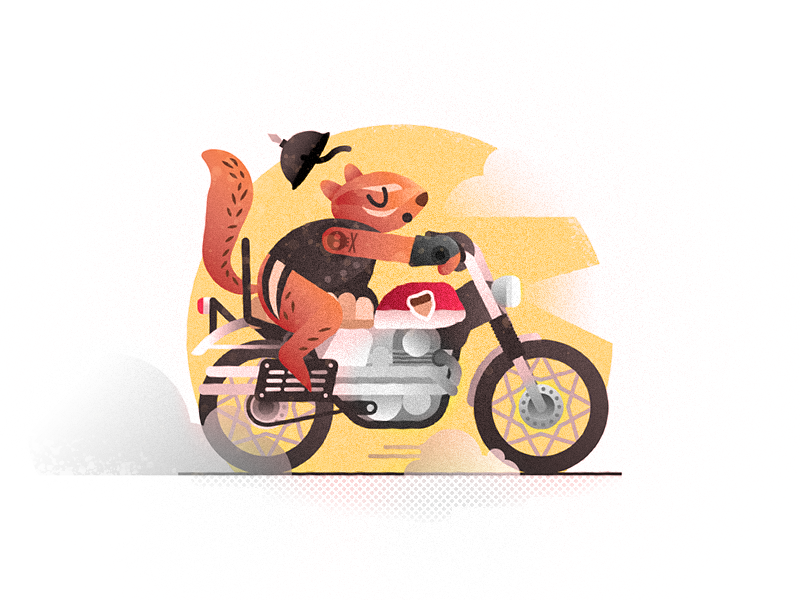 ChipPUNK bike vroom honda tattoo helmet rodent motorcycle chipmunk vector challenge 52weeks illustration