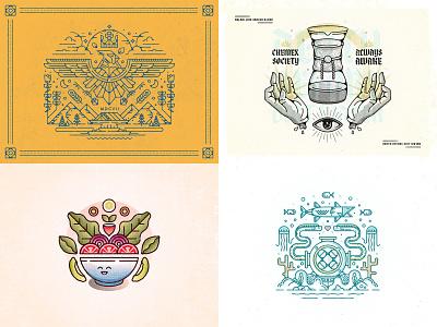 Twenty Eighteen ocean virginia cardinal coffee salad 52weeks year in review 2018 branding design icon vector illustration