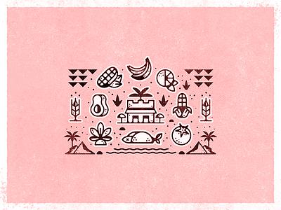 Mexico Icons bodega map restaurant agave avocado bananas tomato wheat fish taco corn mexico design branding icon vector illustration