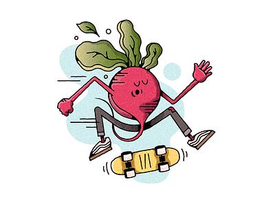 RADish character skate or die push mongo do a kickflip vegetable radish skateboard skateboarding challenge 52weeks vector illustration