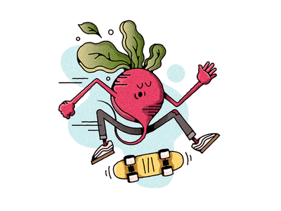 RADish character skate or die push mongo do a kickflip vegetable radish skateboard skateboarding challenge 52weeks vector illustration