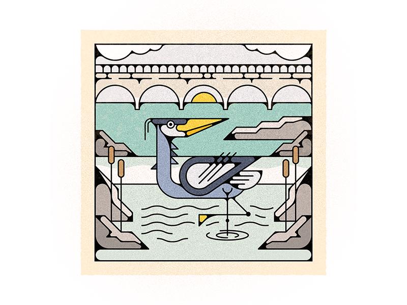 The Mighty Jim waterbird summer river heron virginia richmond james river design vector illustration