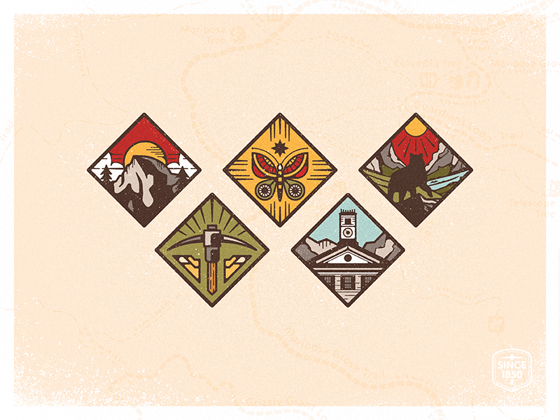 Outdoorsy mountains small town wilderness half dome pickaxe butterfly bear county california design branding icon vector illustration