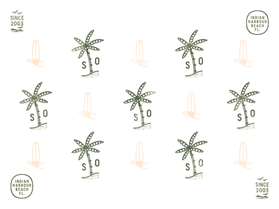 Beachy florida surfboard palmtree logo extras pattern design branding logo icon vector illustration