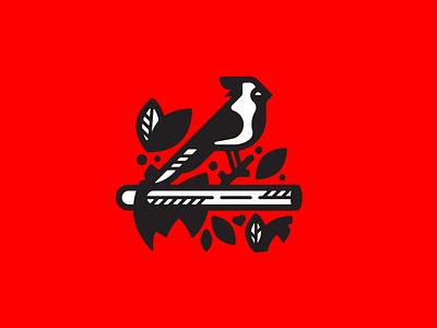 Red Card logo icon doodle bird cardinal virginia design vector illustration