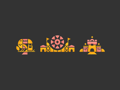 Park Icons design branding vector textures brushes photoshop ferris wheel backpack castle amusement park toucan icons illustration