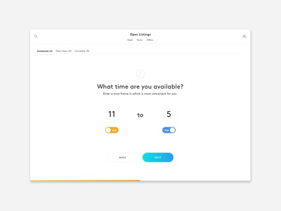 Onboarding Portal realty user interface time toggle portal ui