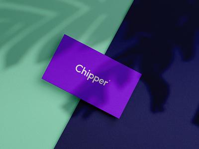 Chipper Biz Card violet simple logo finance sans serif business card
