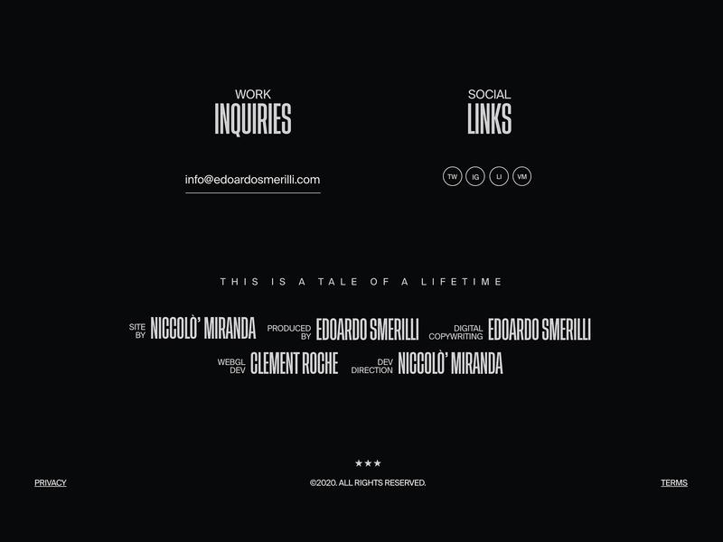 Edoardo Smerilli – 003 interaction animations ux ui footer design trend animation minimal design block cinema footer