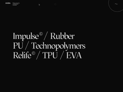 Cobo – Materials threejs webgl rollover distortion fluid reveal minimal bold inspiration brutalism design ui