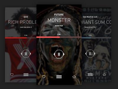 LiveMixtapes Player UI Exploration mixtapes music ui iphone app hiphop
