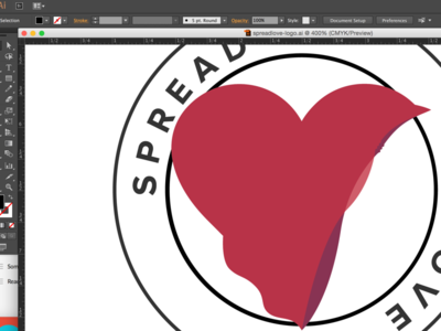 Working on Spreading Love logo heart circle