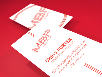 Made By Porter Business Cards business cards logo red design