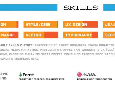 Resume: Skills Section resume skills meter logos forrst dribbble html5 css3 ux design typography vector orange blue deming