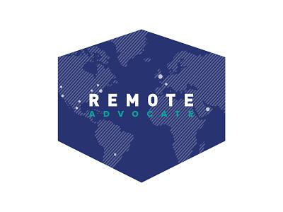 Remote Advocate Logo branding globe continents world cities advocate remote shield logo