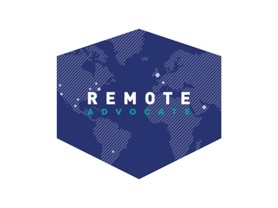 Remote Advocate Logo branding globe continents world cities advocate remote shield logo