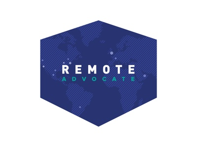 Remote Advocate Logo v2 branding globe continents world cities advocate remote shield logo