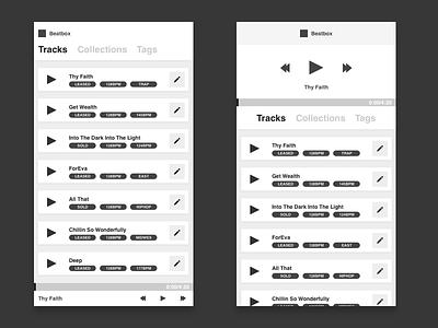 Exhibit A desktop beats tracks organization player music wireframes ui