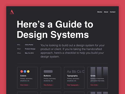 A Guide to Design System portfolio helvetica website blog system design