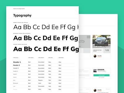 HyreCar Design System WIP components cards typography muli helvetica app web auto system design