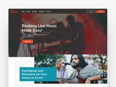 Gigmor Homepage Redesign bands musicians booking landing website design music