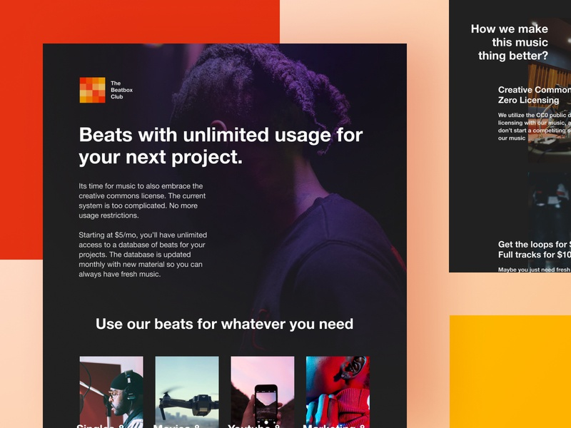 The Beatbox Club Site unsplash helvetica typography dark black ui design logo red hiphop music