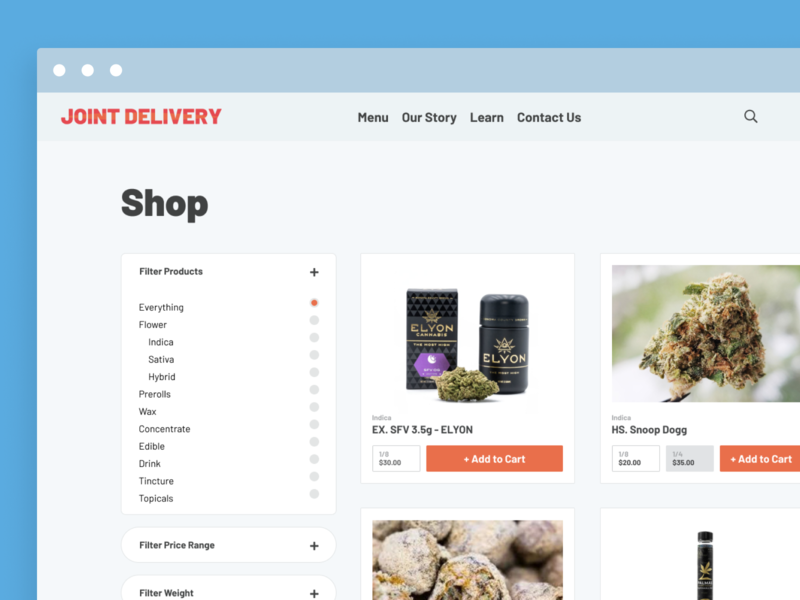 Joint Delivery Minimal eCommerce figma vapes marijuana store minimal clean ecommerce cannabis