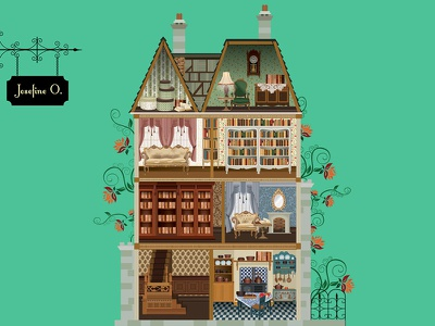 Doll house isllutration flat illustration