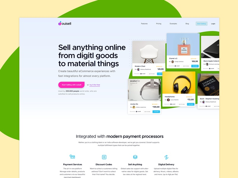 Website Concept online selling material processors payment userinterface ecommerce shopify sell advertise landing page website study concept