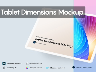 Tablet Dimensions Mockup showcase website pesentation perspective mockup isometric mockup tablet dimensions dimensions 3d
