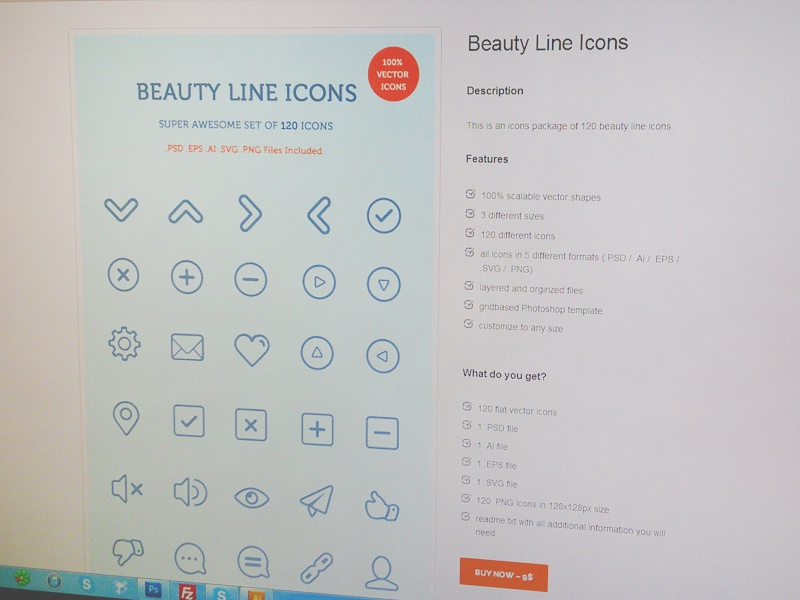 Beauty line icons on shop