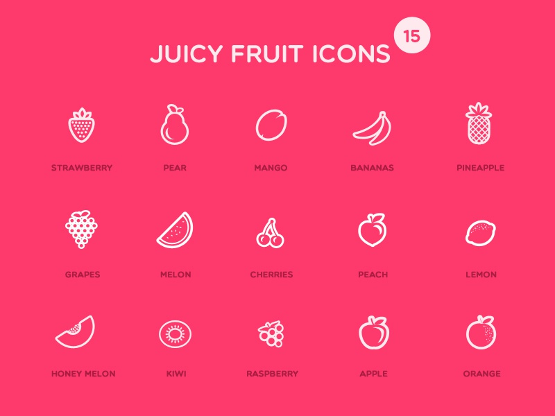 Juicy Fruit Icons juicy fruits icons vector stroke line psd download iconography restaurant food fresh