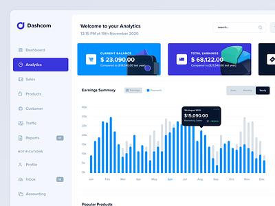 Dashcom UI infographics earnings sales ui designer website builder elements components webapplication ui mobile webapp interface design dashboard ui ui design template